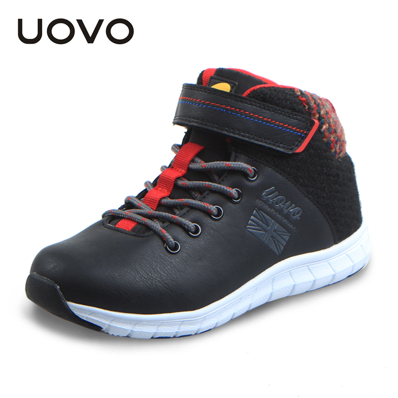 2017 Uovo New Spring Winter Boys High Top Sneakers Children Sport Shoes Casual Warm Running Shoes Black Blue Sapatilhas Menino 2017 new autumn winter children pu leather sport running shoes for little boys big boys male fashion sneakers boys casual shoes