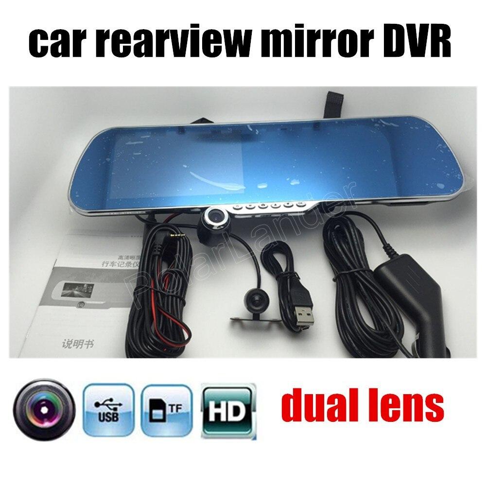 imágenes para 4.3 Pulgadas Espejo Retrovisor Del Coche DVR incluye Cámara trasera Inversa de visión nocturna lente dual videocámara dash cam video recorder conducción