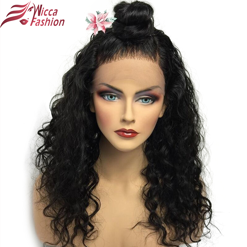 Wicca Fashion Brazilian remy curly hair natural color 150 Density Pre Plucked Natural Hairline 360 Lace Frontal Wig