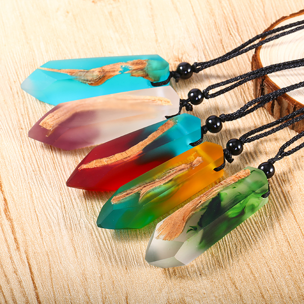 20PCS/Lot Fashion Women Men Necklace Handmade Vintage Resin Wood Statement Necklaces & Pendants Long Rope Wooden Jewelry Gifts