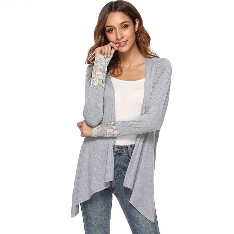 2018 Women Cardigan Jacket  Autumn Open Front Solid Irregular Hem Cardigan Casual Fahion Long Sleeve Cardigan Top Plus Size