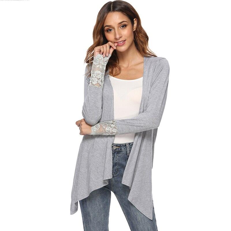 2018 Women Cardigan Jacket  Autumn Open Front Solid Irregular Hem Cardigan Casual Fahion Long Sleeve Cardigan Top Plus Size