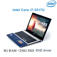 "dvd נהג ושפת 8G RAM 256G SSD השחור P8-16 i7 3517u 15.6"" מחשב נייד משחקי מקלדת DVD נהג ושפת OS זמינה עבור לבחור (1)"