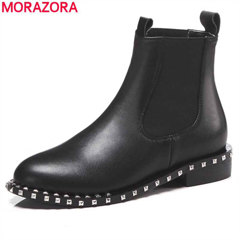 MORAZORA 2018 top quality genuine leather ankle boots for women round toe slip on autumn winter boots womens shoes blackMORAZORA 2018 top quality genuine leather ankle boots for women round toe slip on autumn winter boots womens shoes black