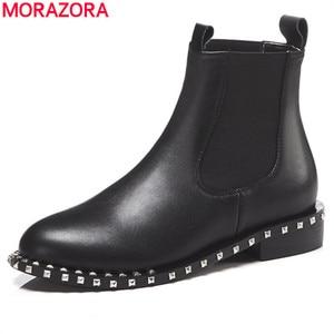 Image 1 - MORAZORA 2020 top qualität aus echtem leder stiefeletten für frauen runde zehe slip auf herbst winter stiefel frauen schuhe schwarz