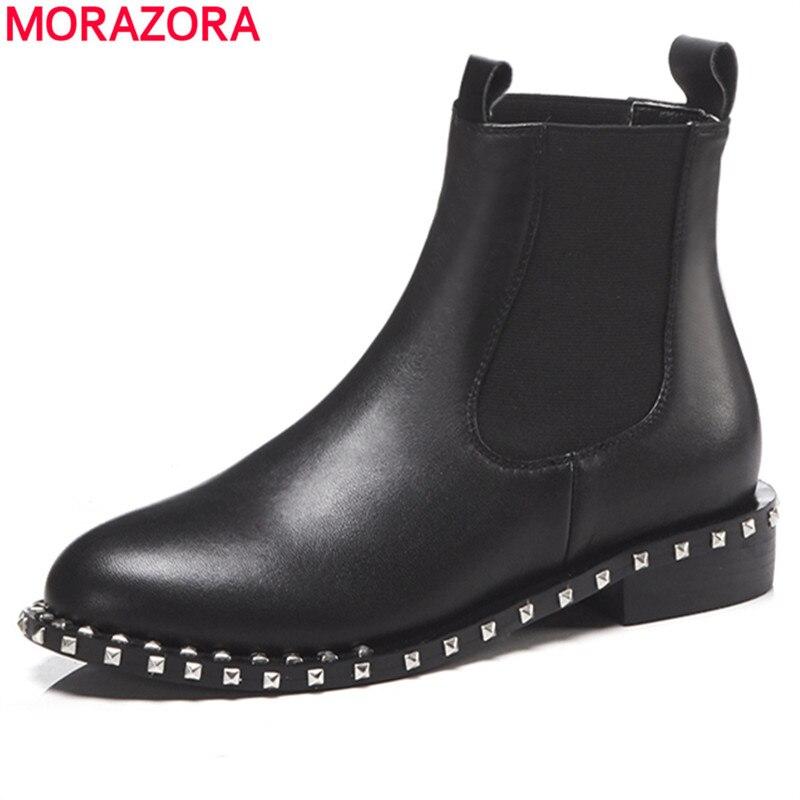 MORAZORA 2020 أعلى جودة جلد طبيعي حذاء من الجلد للنساء جولة تو الانزلاق على الخريف الشتاء الأحذية أحذية نسائية الأسود-في أحذية الكاحل من أحذية على  مجموعة 1