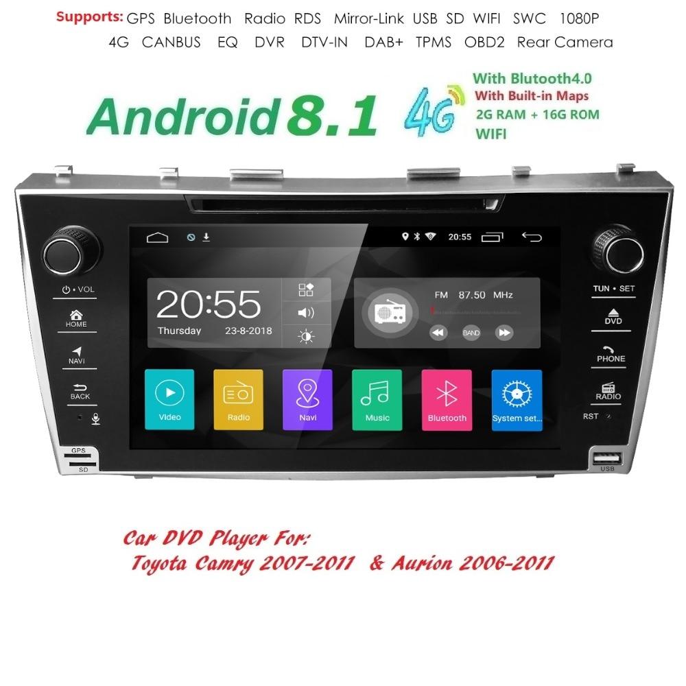 8 сенсорный экран 2 din автомагнитола android 8,1 автомобильный стерео плеер gps для TOYOTA Camry 2011-2007 Aurion 2011-2006 DVD + wifi + SWC + BT 4G