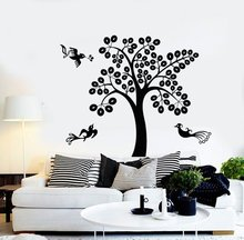 Wall Vinyl Decal Tree Birds with Branch Nature Mural Nursery Decor Wall Sticker For Kids Room Window Decals For Baby Bedroom L92 tree wall decals 260x360cm reindeer tree forest birds wall stickers decal art nursery decor wall sticker for kids room wallpaper