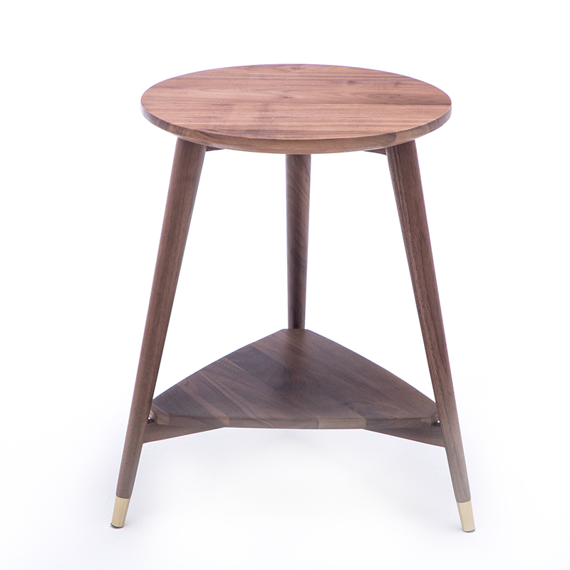 Nordic double-layer black walnut wood coffee table small apartment solid wood corner storage bedroom living room side table