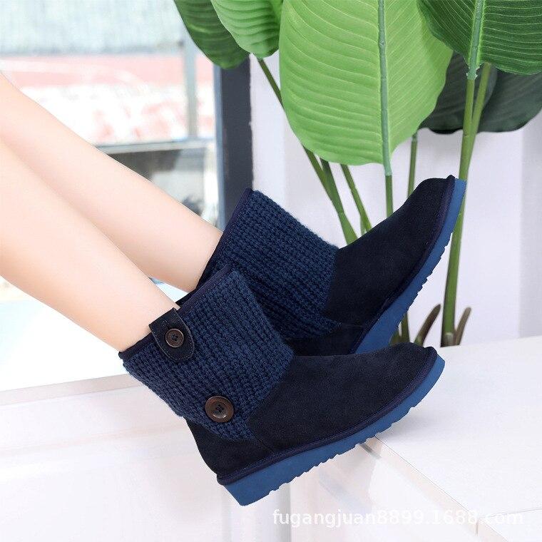 Cuero Zapatos Calientes Piel Botas azul Caliente Genuino Terciopelo Becerro Nieve De Lana Excargo Mujer Invierno Mediados Femae 2018 Negro PwqInf7HO