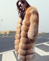 90 см России Стиль толстые Обувь на теплом меху пальто для Для женщин зимние великолепные природные реальный красный лисий мех длинные пальт