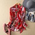 2016 Печать Футболка женская С Длинным рукавом Повседневный Блузка Высокое Качество Шелковая Блузка Тонкий Моды Топы