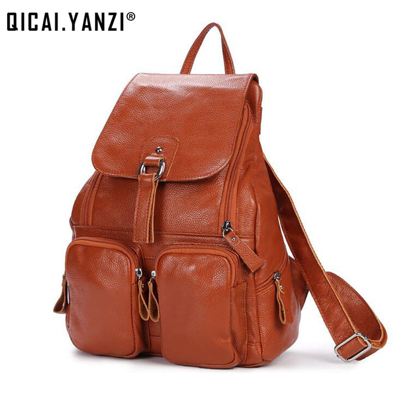 2017 Women Brand Genuine Leather Backpacks Vintage For Teenage Girl School Bags Multi-pocket Real Leather Casual Travel Bag P427 amusing summer water games slide inflatable jumping castle toy for sale