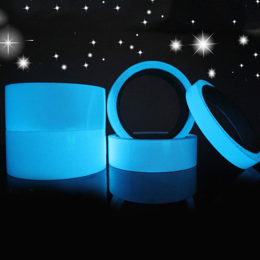 Blue Luminous Tape Fluorescent Self-adhesive Sticker Party Stage Decoration Noctilucent Glowing Warning Safety Tape(China)