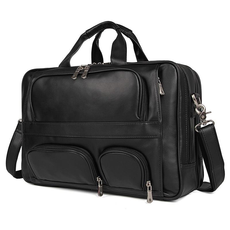 Nesitu Vintage grande café negro marrón cuero genuino hombres maletín Oficina mensajero bolsas 17 ''Laptop cartera # M7289-in Carteras from Maletas y bolsas    2