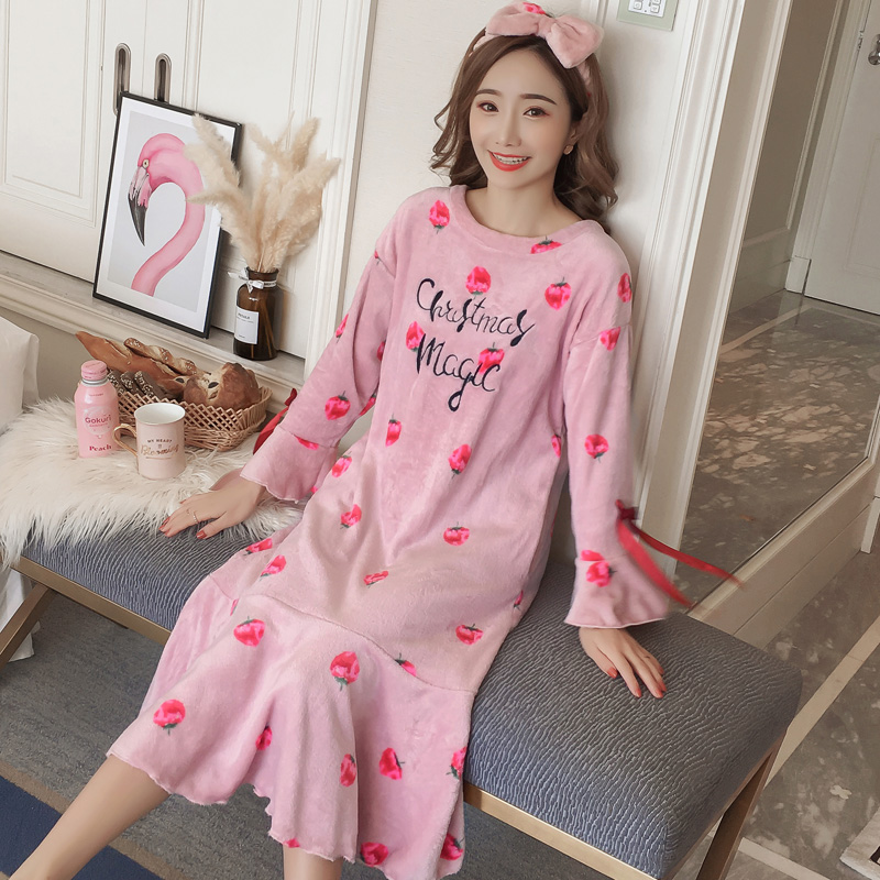 Nightgowns     sleepshirts   for women Lovely Wintter Fresh Student Sweet Flannel long Sleeve warm Long nightdress Woman NightSkirt