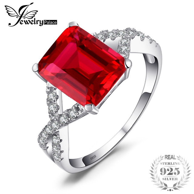 JewelryPalace 4.6ct Red Created Ruby Ring For Women Real 925 Sterling Silver Sta