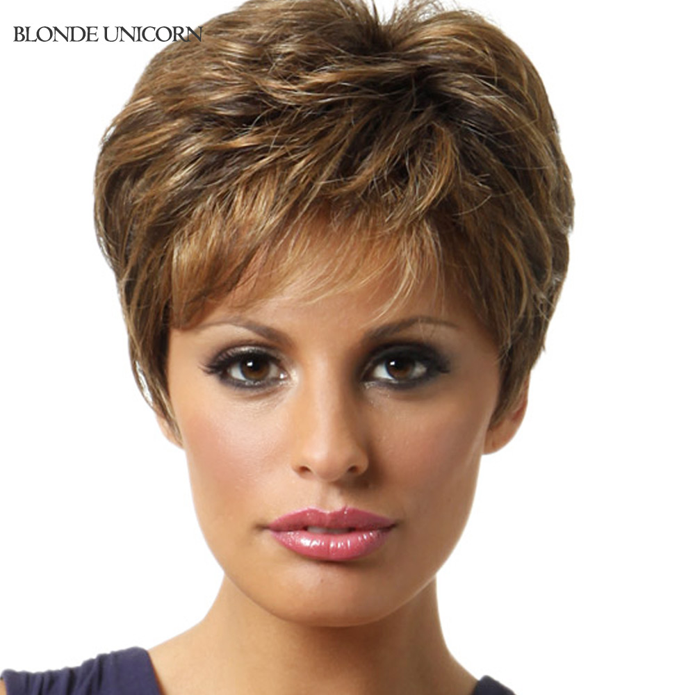 Blonde Unicorn Layered Wigs Short Human Hair Wigs For