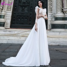 Detmgel V-Neck A-Line Wedding Dresses 2019 Full Sleeve
