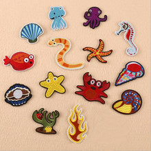 Many Sea Animal Red Yellow Badge Repair Patch Embroidered Iron On Patches For Clothing Close Shoes Bags Badges Embroidery