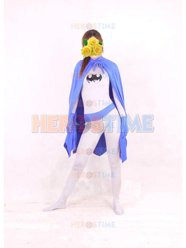 Batman Costume Purple & White Spandex halloween Batgril Superhero Costume Show Zentai Suit