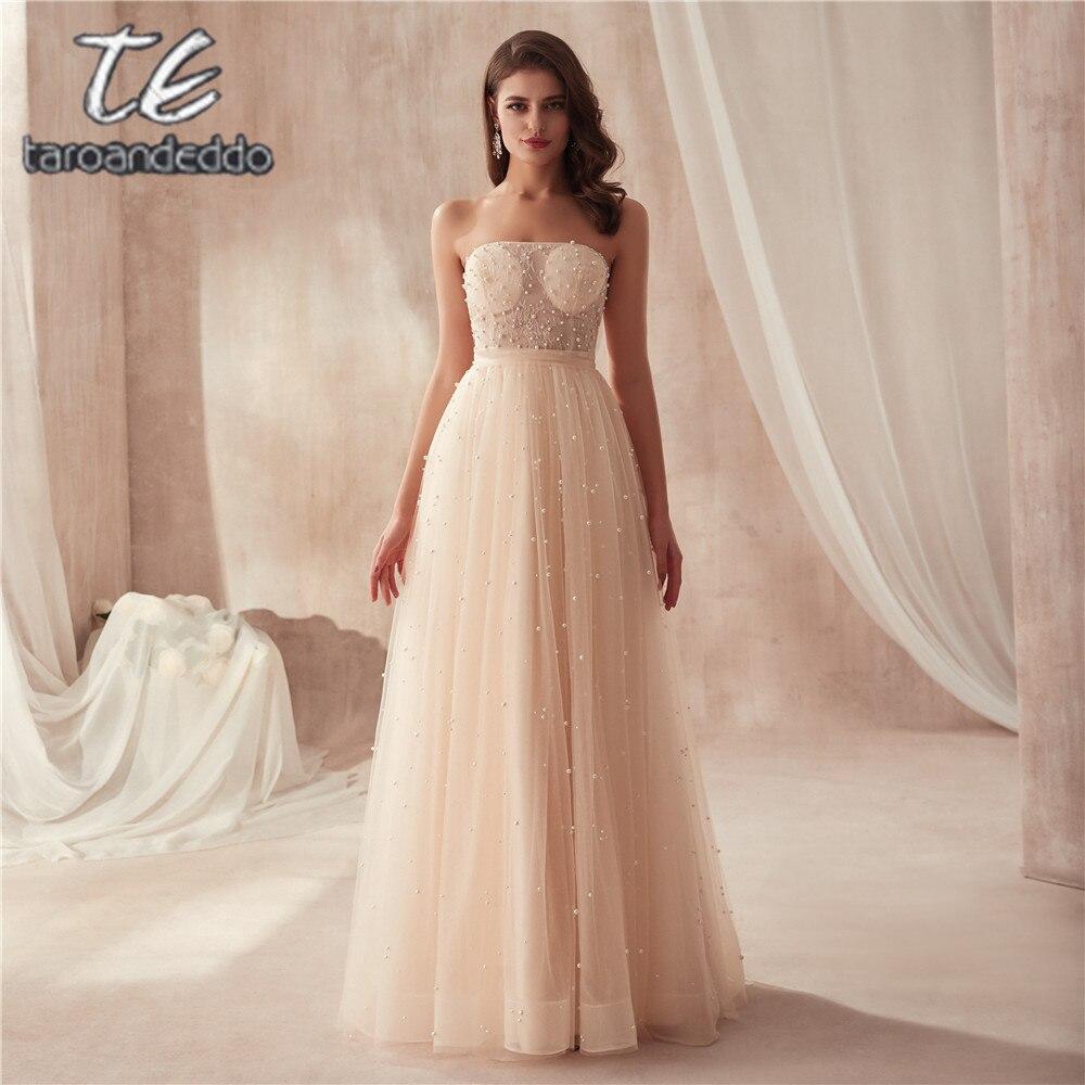 2019 Strapless Champagne Full Pearls Floor Length   Prom     Dress   Bling Bling Evening Gowns vestidos de festa vestido longo para