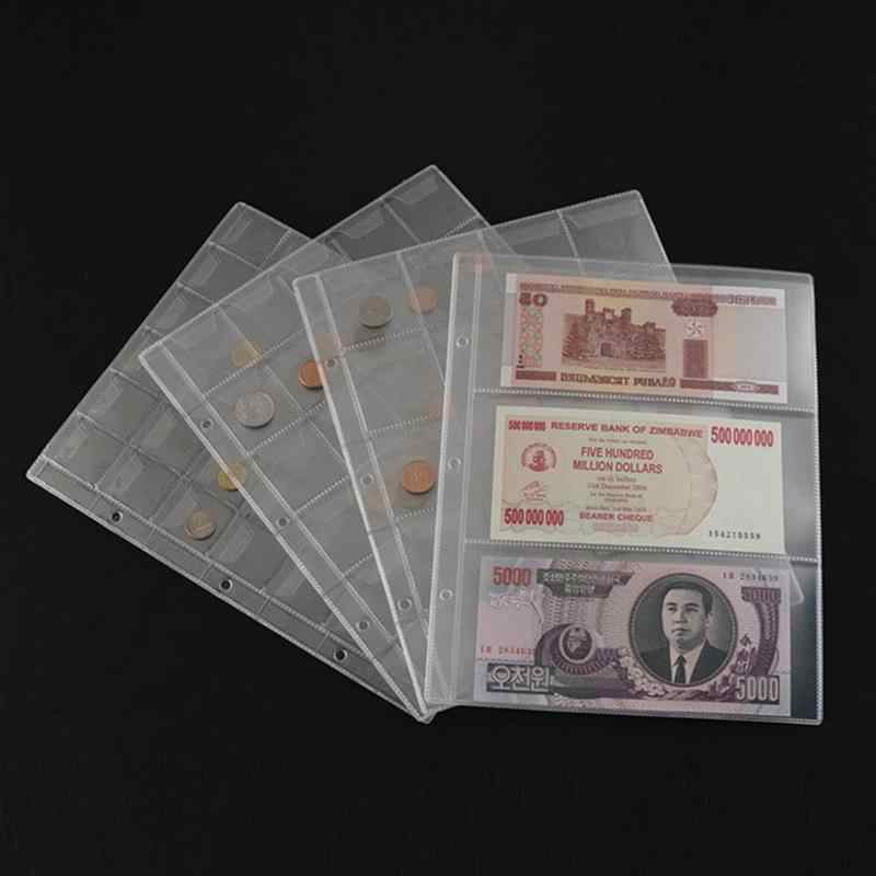 1 Page PVC Plastic Coin Holder Album Pages Money Storage Penny Collection Album Book Loose-Leaf Sheets Home Commemorative Coins