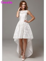 2017 Hot Simple White High Low Lace Cocktail Dresses Sleeveless Party Gowns Jewel Knee Length Custom