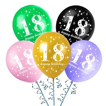 10pcs Happy 18th Birthday Latex Balloons 18 Years Old Gold Globos For Party Supplies