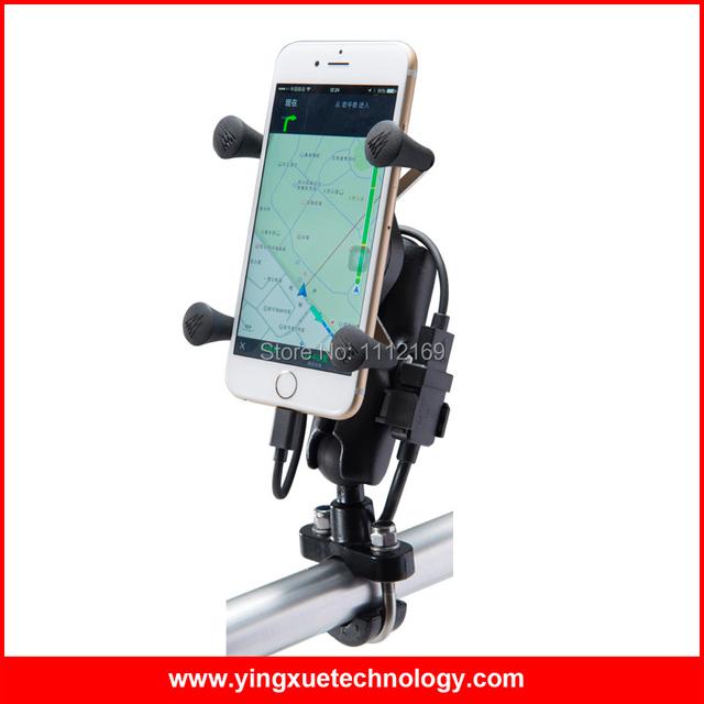 Mango Universal de La Motocicleta bar Monte Soporte para Teléfono Celular con Doble Cargador USB A Prueba de agua para 3.5-5.5 Pulgadas Del Teléfono Inteligente