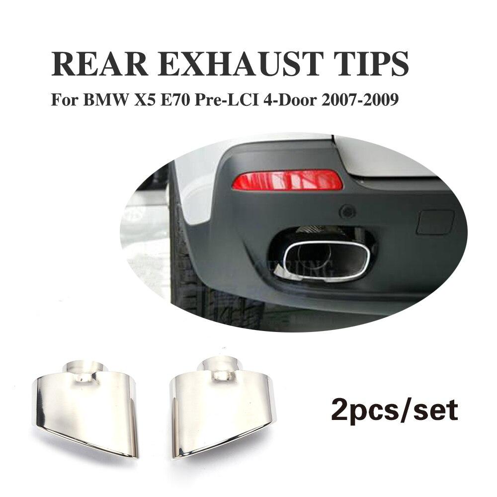 2шт/набор из нержавеющей стали задние выхлопные трубы глушитель конец трубы, пригодный для BMW Х5 Е70 предварительно lci неконвертируемые 2007-2009