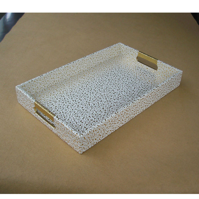 40x25cm rectangle leather serving storage decorative tray fruit food tray embossed gold over white 297b - Decorative Tray