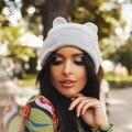 Mujeres cuernos Cat Ear lindo Crochet trenzado Knit Beanie Ski lana del casquillo caliente sombrero