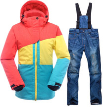 SAENSHING Mountain Skiing Suit Women Ski Waterproof Thicken Warm Clothing Patchwork Snow Suits Snowboarding