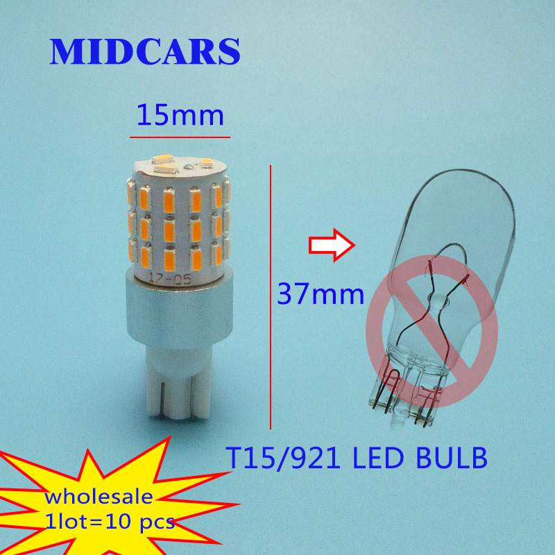 MIDCARS T10 12V W16W LED Bulbs 921 Auto Fog T15 Tail Turn Signal Light R5W Lamp