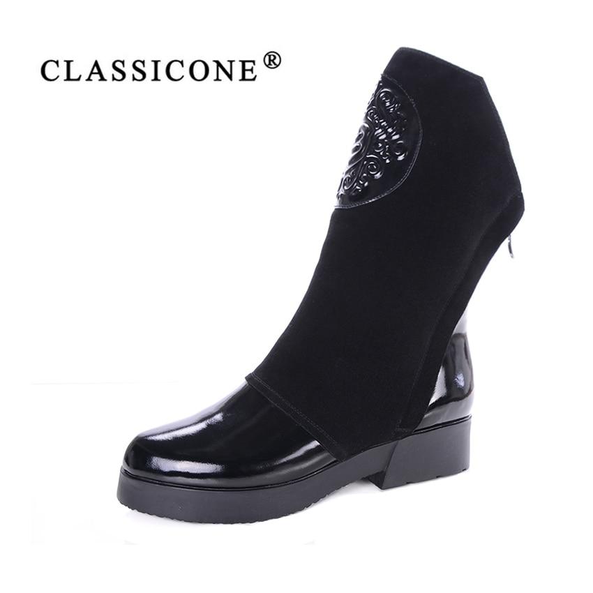 CLASSICONE Noir Femmes Bottes Véritable Bottes en cuir Avec Chaud En Peluche À La Main de Qualité Classique Botas Femmes Chaussures Fourrure neige bottes