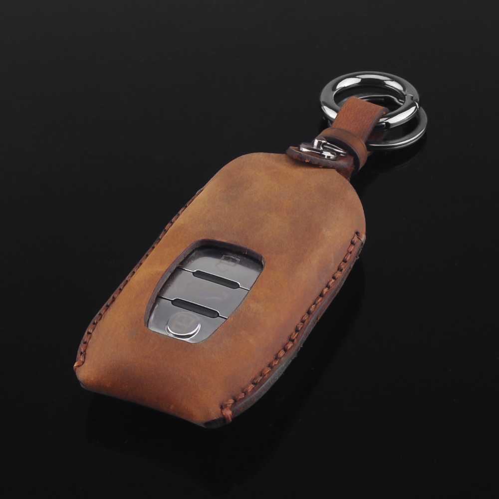 KEYYOU genuine leather Car Key Case Cover For Audi A1 A2 A3 A4 A5 A6 A7 TT Q3 Q5 Q7 R8 S6 S7 S8 B5 B6 Car Key Ring Smart Key Bag