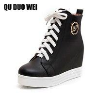 QUDUOWEI 2018 Herfst Vrouwen Enkellaarsjes Verborgen Wiggen Sneakers Oversize Schoenen Vrouwelijke Platform Hoogte Toenemende Laarzen Zwart Wit