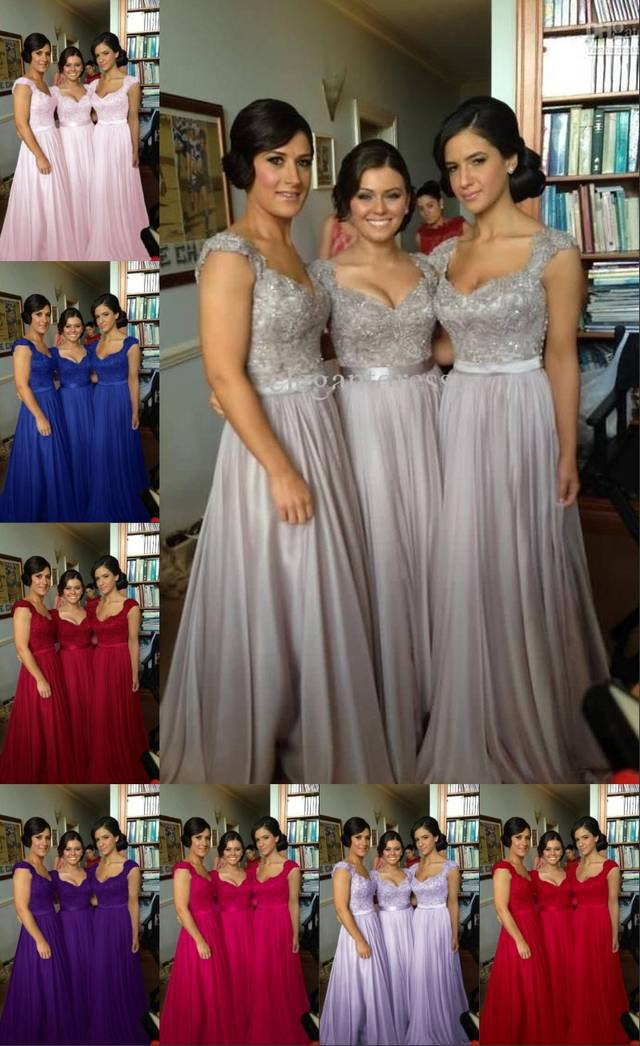 10 color! Cheap   Bridesmaid     Dresses   Appliques Spaghetti Straps Sleeveless A Line Lace-up Floor Length Stock Chiffon Formal   Dress