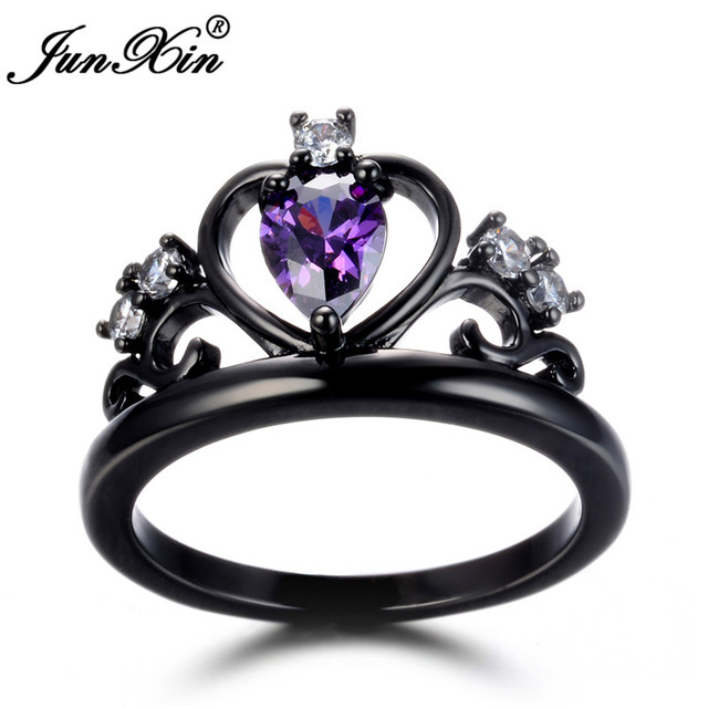 junxin male female crown ring green blue red purple cz ring vintage black gold wedding rings - Green Wedding Rings