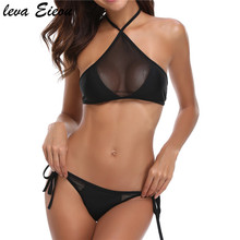 Cut Out Mesh Sexy High Neck Bikinis Women Black Two Pieces Swimsuit Female 2018 Beach Solid Swim Wear Padded Halter Bandeau Suit