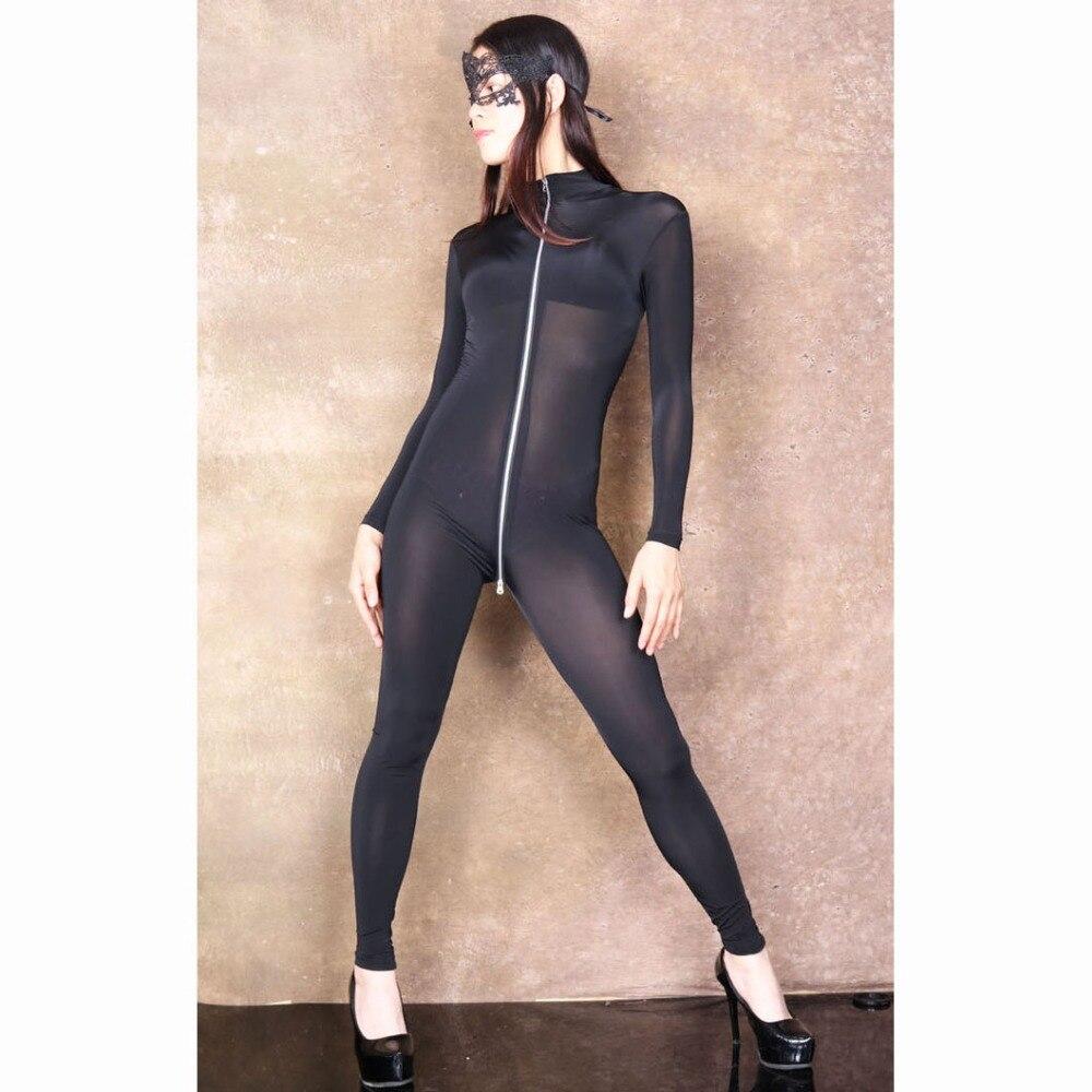 XXL Long Sleeve 3 Zipper Open Crotch Bodysuit Rompers Womens Jumpsuit Transparent Wetlook Bodystocking Sexy Hot Erotic Babydoll