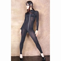 XXL Long Sleeve 3 Zipper Open Crotch Bodysuit Rompers Womens Jumpsuit Transparent Wetlook Bodystocking Sexy Hot Erotic Babydoll