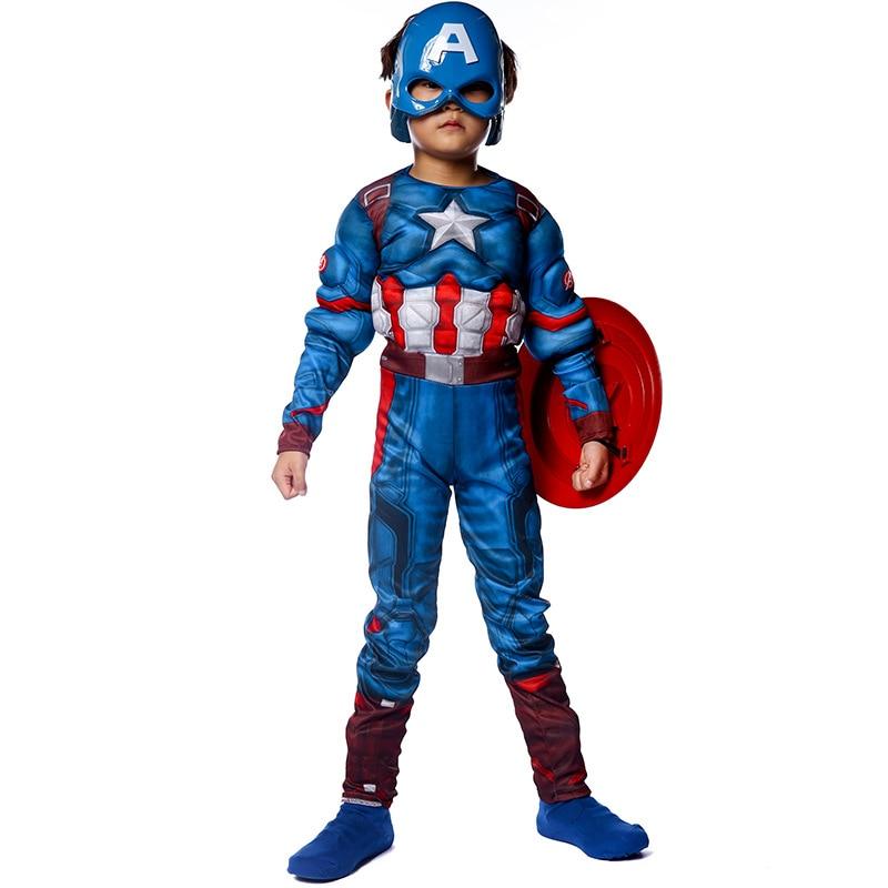 Halloween Kid Captain America Jumpsuit Children's Day Boy Child Superhero The Avengers Captain America Muscle Costume