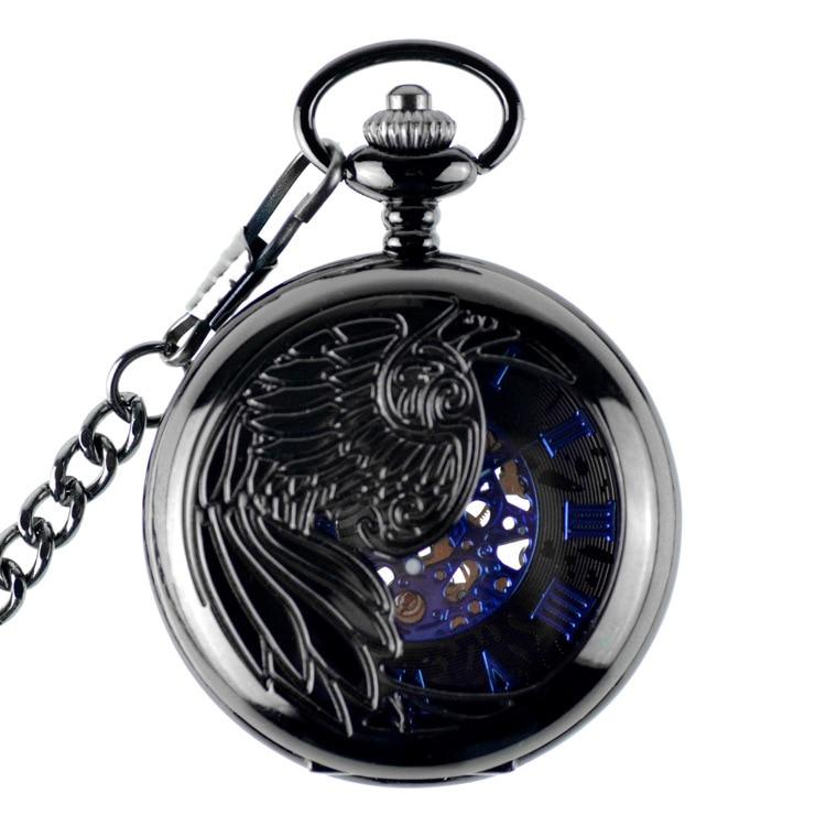 Hollow Skeleton Black Automatic Mechanical Pocket Watch Men's Watch Women's Watch Vintage Hand Wind Clock Necklace Pendant Saat стоимость