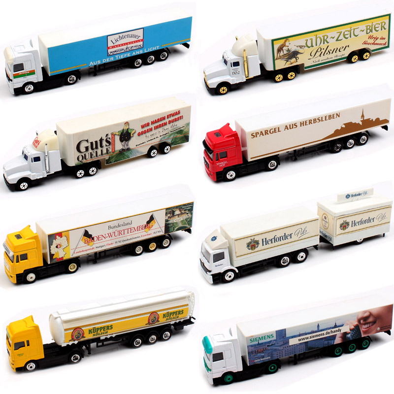 1:87 Scale High Speed Small German Advertising Vehicle Media Container Tow Truck Diecast Model Car Toys For Kid's Boy Collection