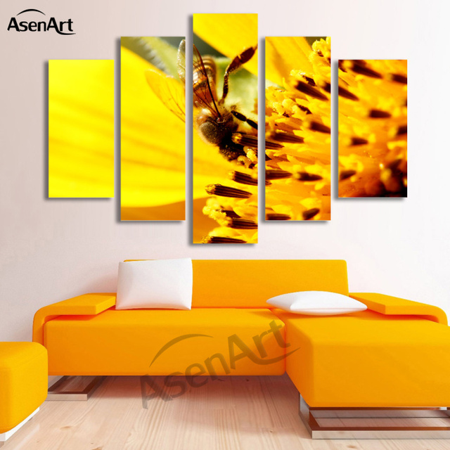 5 Panel Honey Bee Pictures Animal Painting Yellow Flower For Bedroom Modern Home Decor Wall Art Canvas Prints Unframed