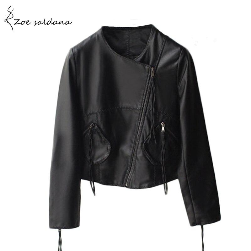 2018 De Mode de Femmes Slim Style Court Moto Veste En Cuir Printemps Hiver Femmes Noir O-cou Faux PU Cuir Manteau