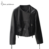 2016 Fashion Women S Slim Short Style Motorcycle Leather Jacket Autumn Winter Women Black O Neck