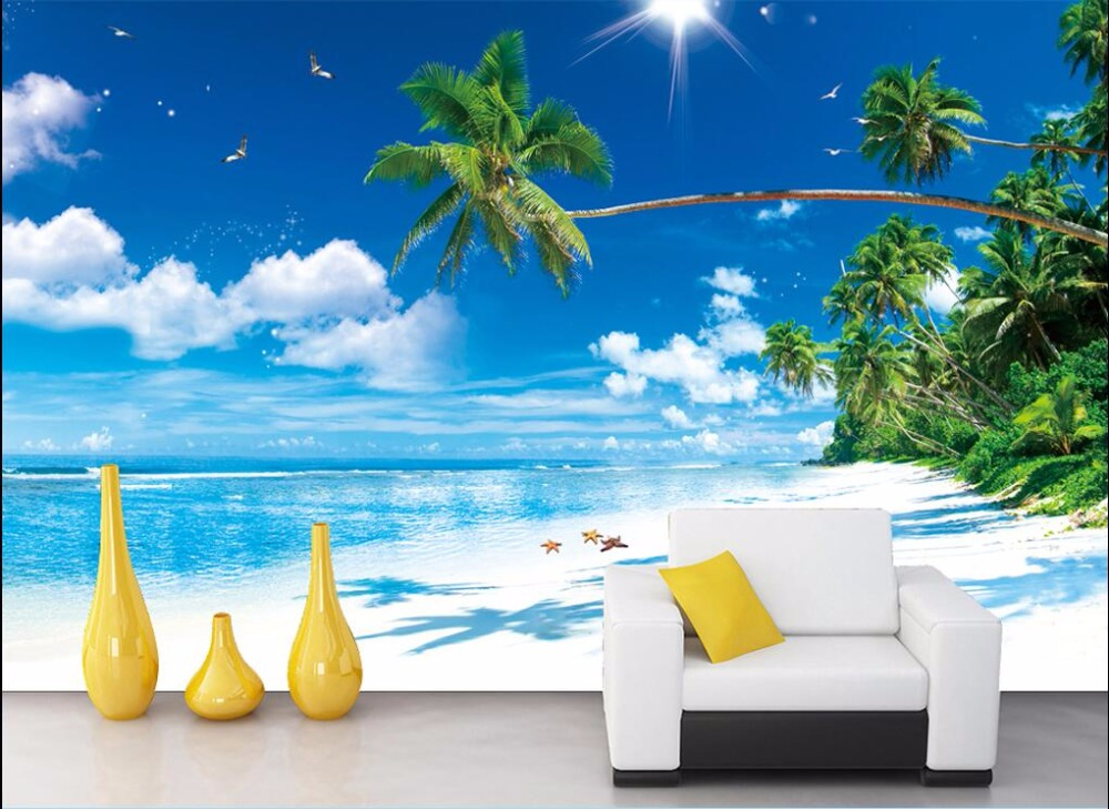 3d room wallpaper custom photo Blue sea blue sky white white beach coconut trees painting 3d wall mural wallpaper for walls 3 d custom photo 3d ceiling murals wall paper blue sky rose flower dove room decor painting 3d wall murals wallpaper for walls 3 d